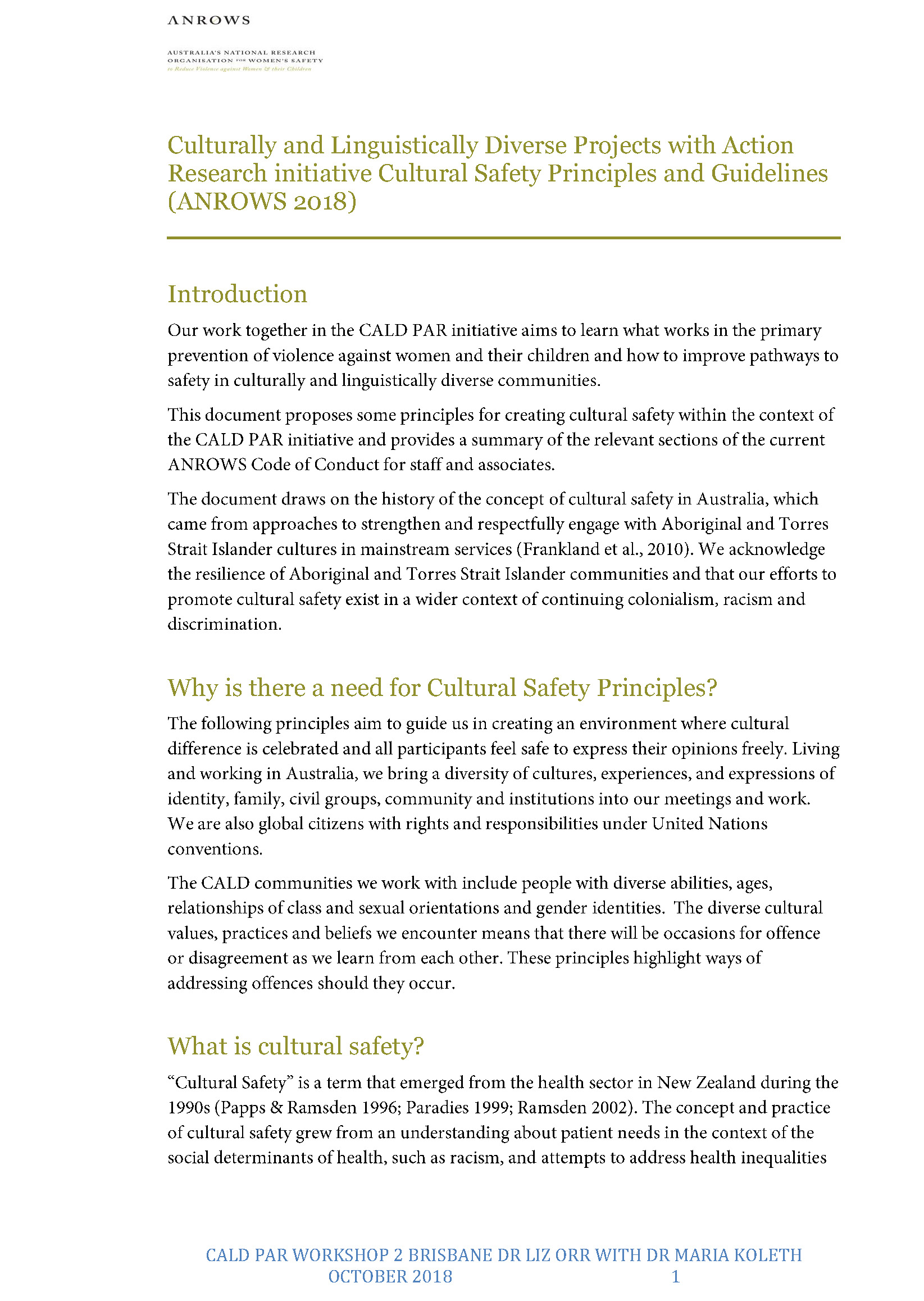 Cultural Safety Principles and Guidelines