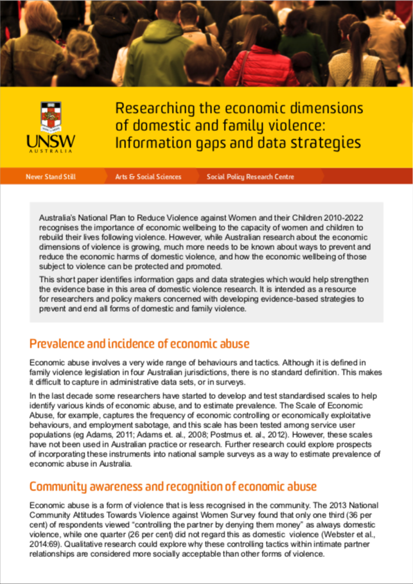 Issues paper: Researching the economic dimensions of domestic and family violence: Information gaps and data strategies