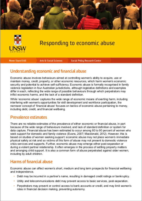 Issues paper: Responding to economic abuse
