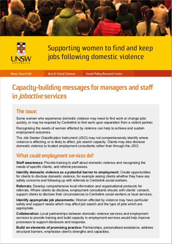 Issues paper: Supporting women to find and keep jobs following domestic violence