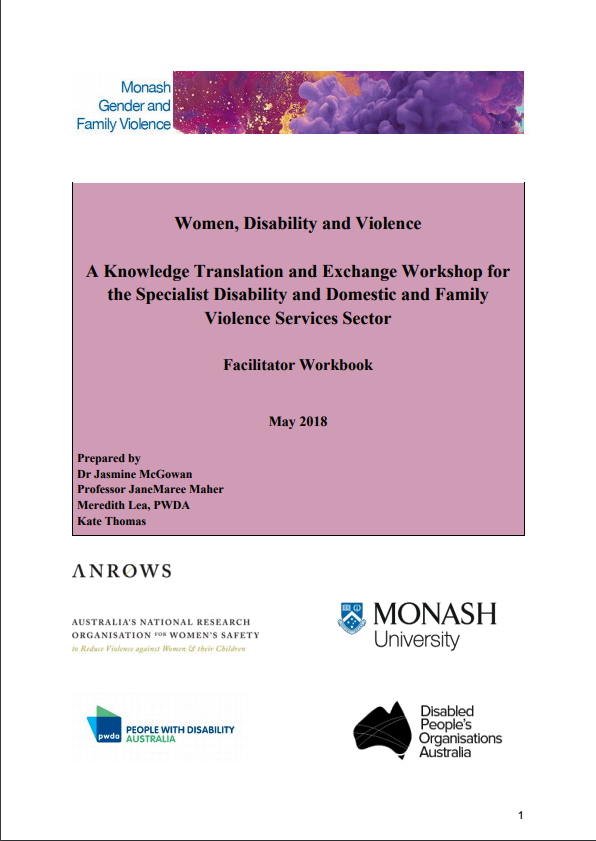 Facilitator Workbook: Women, Disability and Violence: Knowledge Translation and Exchange Workshop