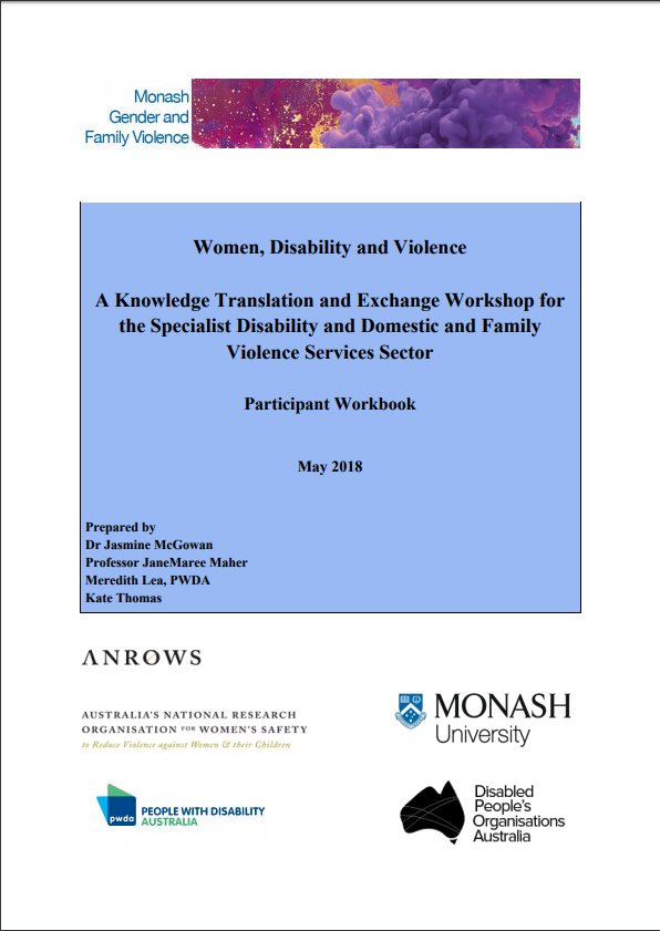 Participant Workbook: Women, Disability and Violence: Knowledge Translation and Exchange Workshop