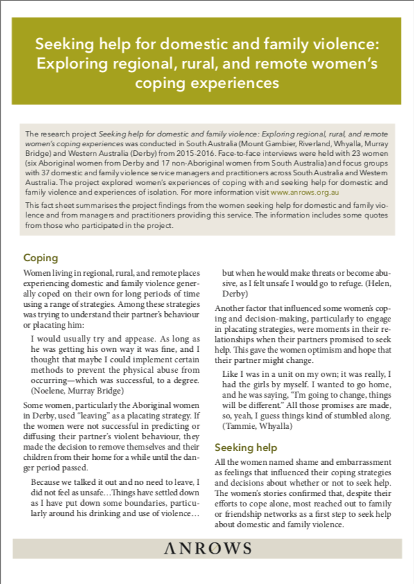 Seeking help for domestic and family violence: Exploring regional, rural, and remote women's coping experiences