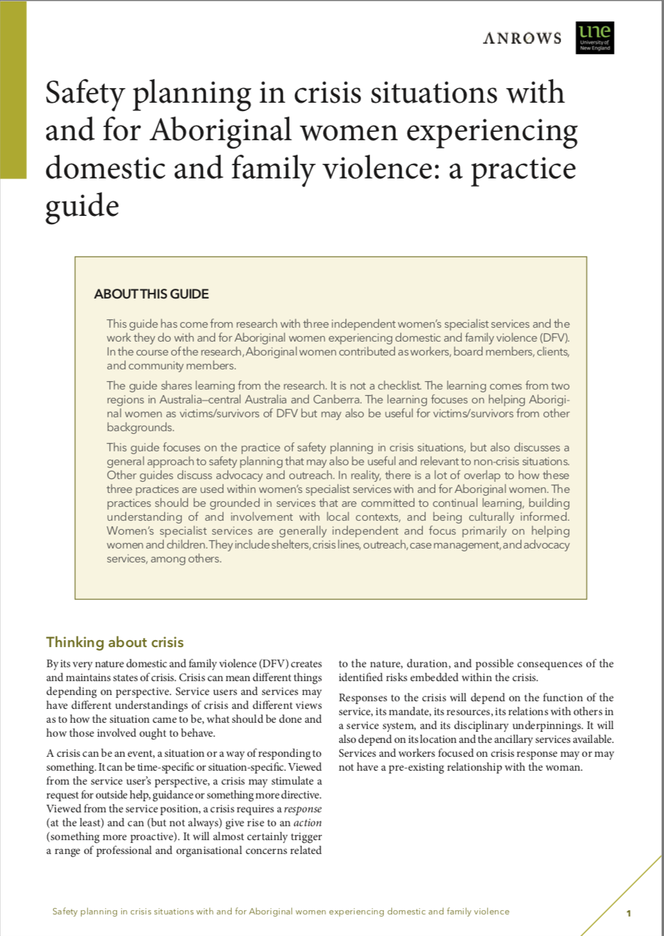 Practice guide: Safety planning in crisis situations with and for Aboriginal women experiencing domestic and family violence
