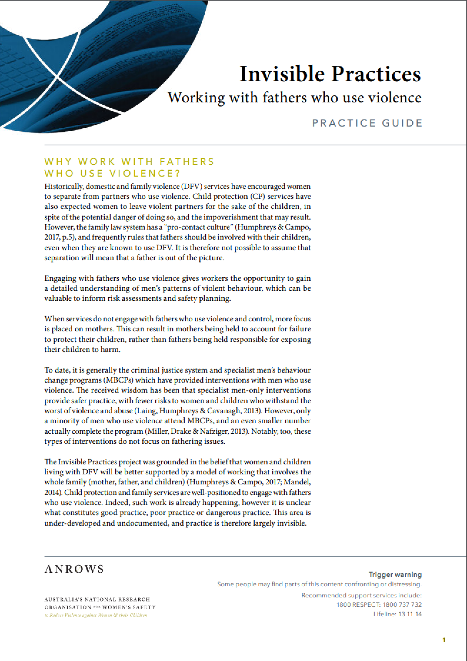 Practice guide:Invisible Practices - Working with fathers who use violence