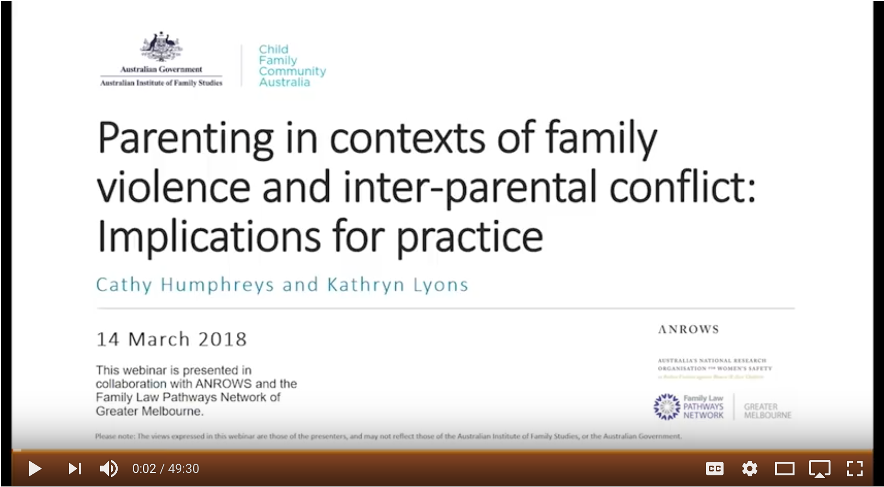 Webinar: Parenting in contexts of family violence and inter-parental conflict