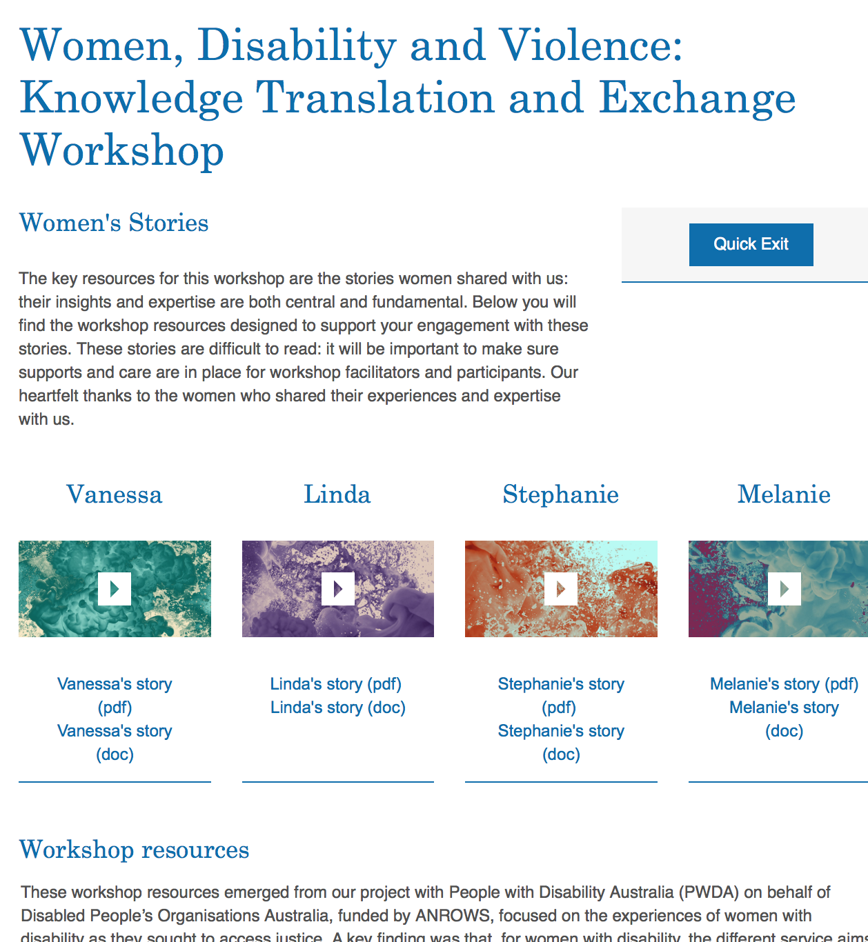 Women, Disability and Violence: Knowledge Translation and Exchange Workshop